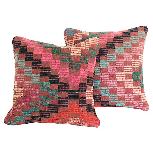Turkish Kilim Cushions, Pair