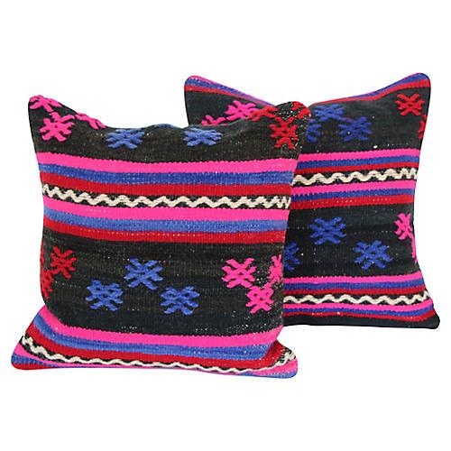 Turkish Kilim Cushions, Pair