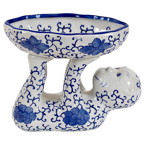 Blue & White Ceramic Monkey Dish