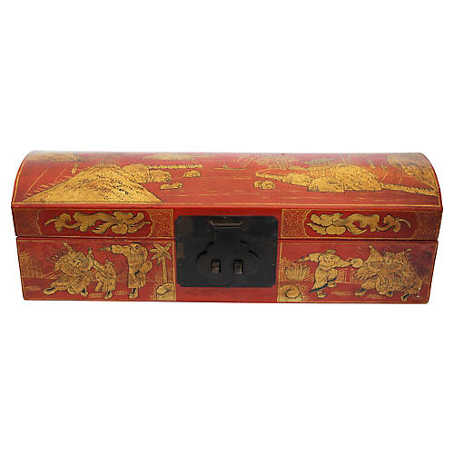 Chinese Orange Leather Tabletop Trunk