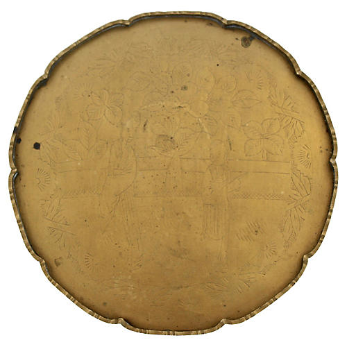 Etched Solid Brass Scalloped Tray
