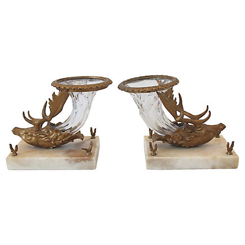 Victorian Stag Head Crystal Vases, Pair