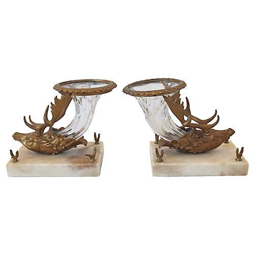 Victorian Stag Head Crystal Vases, Pair