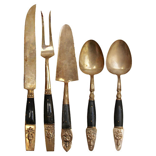 Thai Brass & Rosewood Serving Set, 5 Pcs