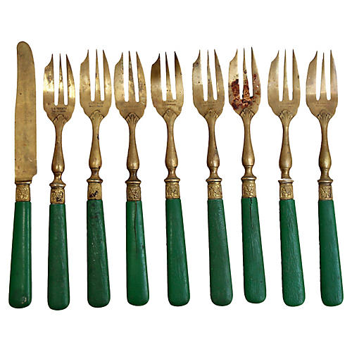 French Brass Fish Forks & Knife, 9 Pcs