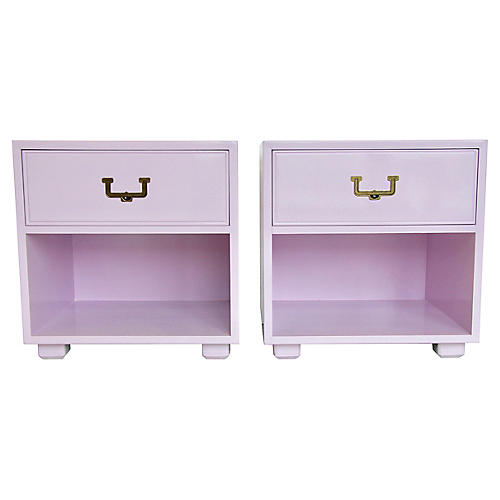 Lilac Campaign-Style Nightstands, Pair