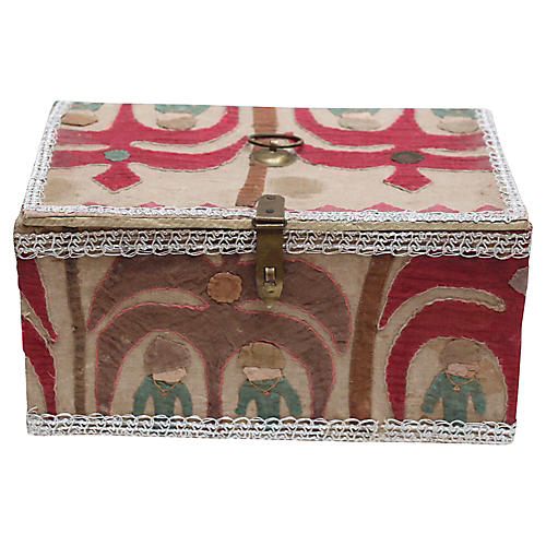Suzani-Upholstered Tabletop Trunk