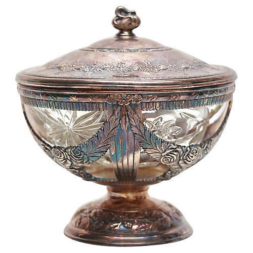 Silver Plate & Cut-Glass Candy Dish