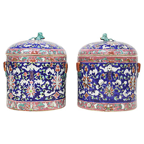 Blue Porcelain Lidded Jars, Pair