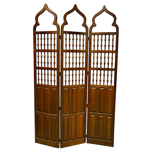 Moroccan-Style Wood Folding Screen
