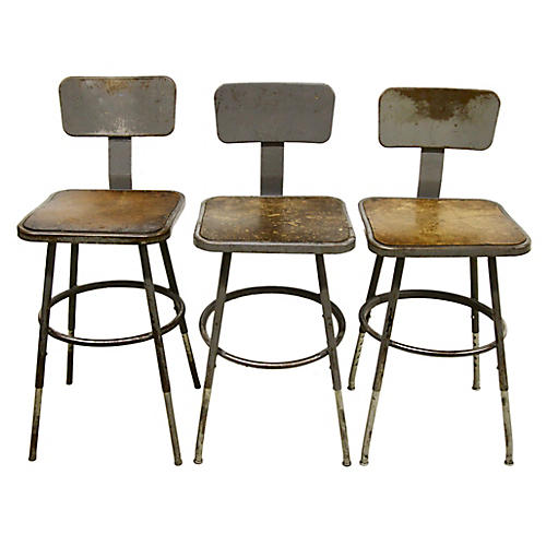 Industrial Lab Stools, S/3