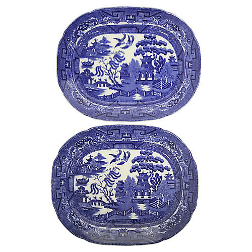 English Blue Willow Platters, Pair