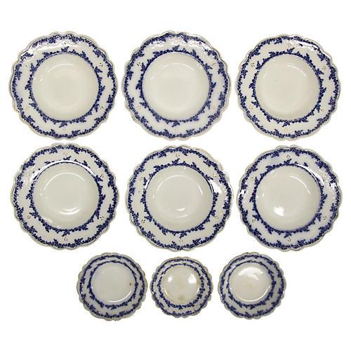 Antique English Flow Blue Bowls, S/9