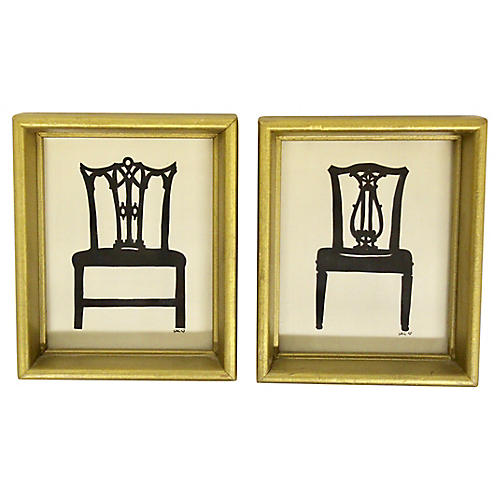 English Papercut Chair Silhouettes, Pair