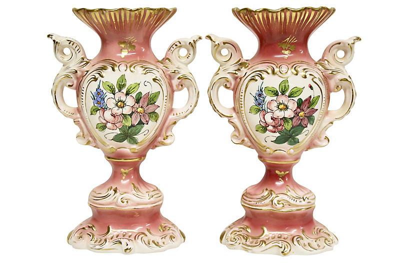 Italian Rococo-Style Ceramic Vases, Pair