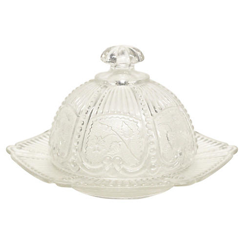 Pressed Glass Domed Butter Dish