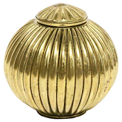 Brass Ribbed Inkwell Stash Box