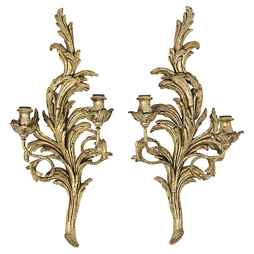 Italian Carved Giltwood Sconces, Pair