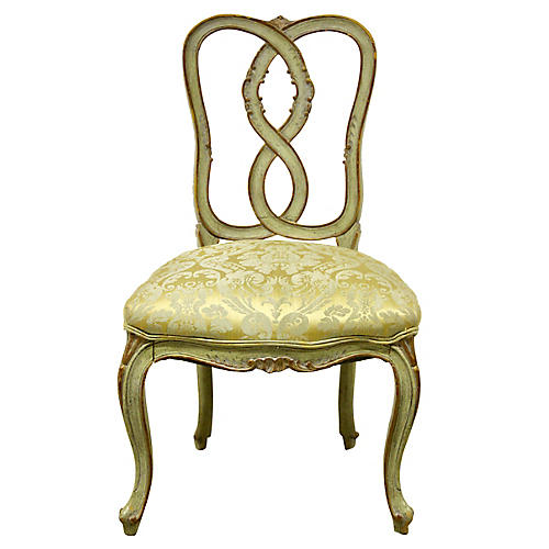 French Brocade Vanity Chair