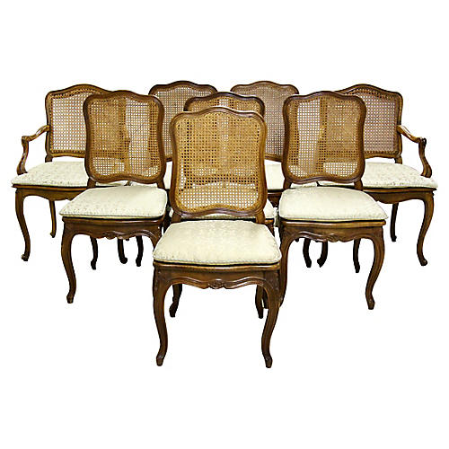 French Caned Walnut Dining Chairs, S/8