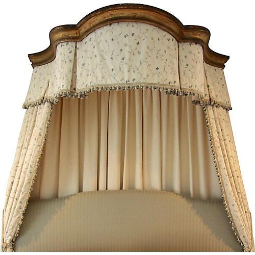 Italian Giltwood Bed Corona w/ Draperies