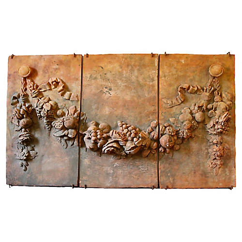 19th-C. Terracotta Relief Panels, S/3