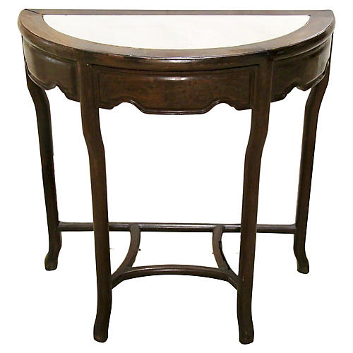 Stone Top Rosewood Demilune Table