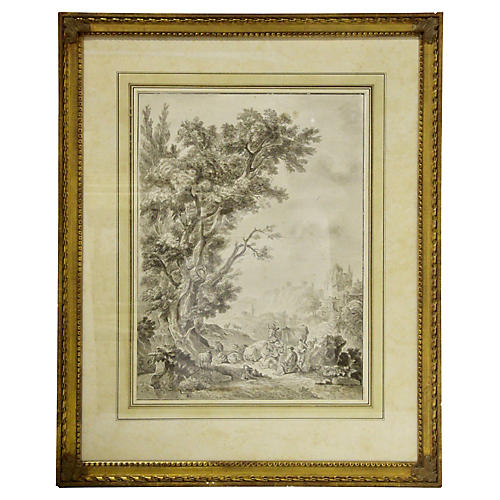 Antique French Pen & Ink Drawing