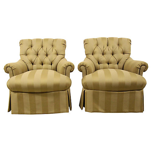 Damask Striped Swivel Chairs, Pair