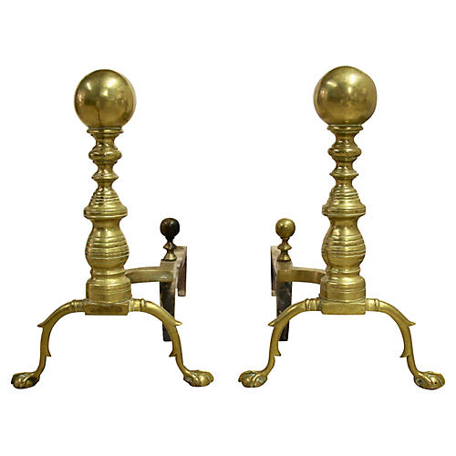 Brass Cannonball Andirons, Pair