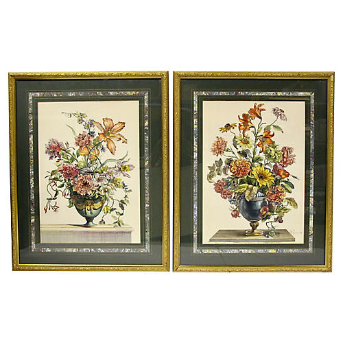 Hand-Colored Floral Engravings, Pair