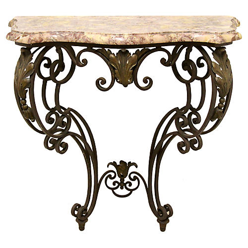 Wrought Iron Demilune Wall Console
