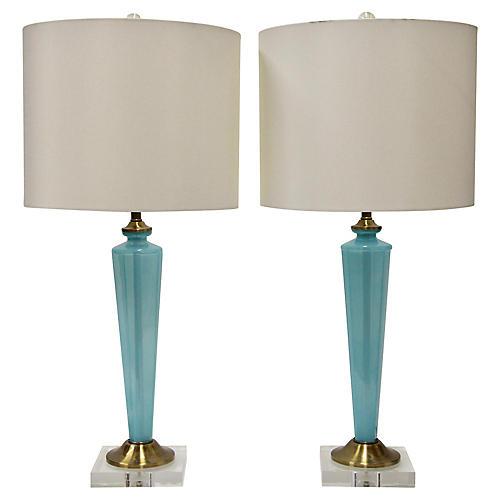 Blue Opaline Glass Lamps, Pair