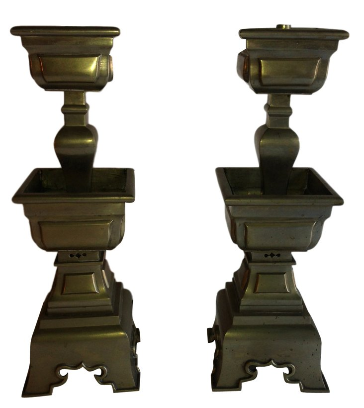 White Brass Chinese Candlesticks, Pair