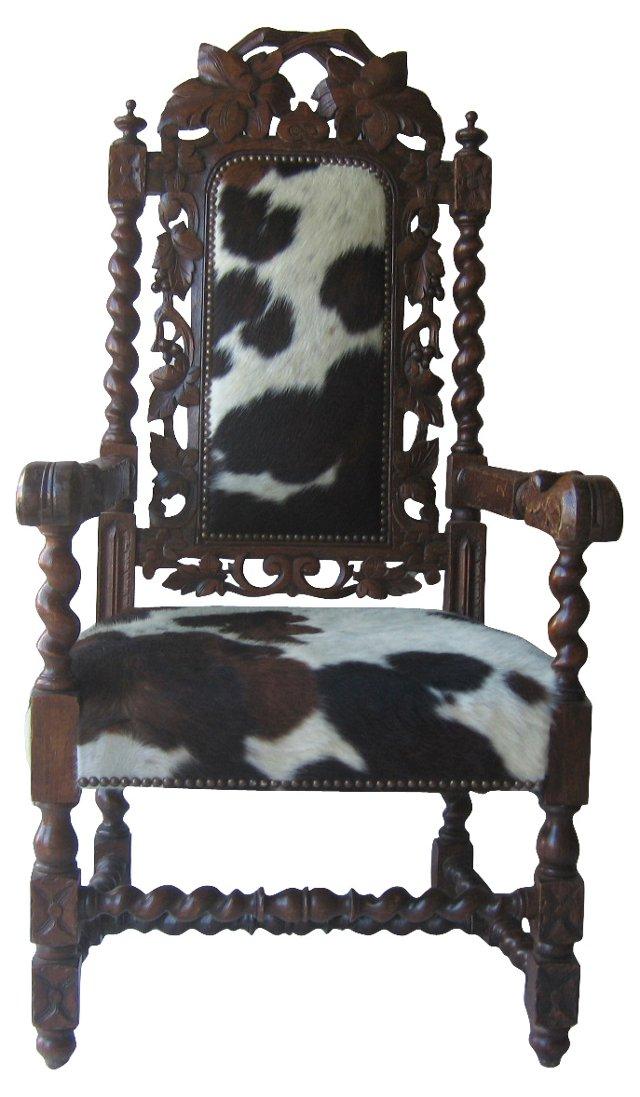 Antique Armchair w/ Cowhide