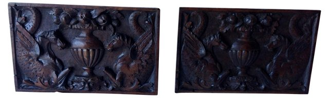 19th-C. Carved Wood Panels, Pair
