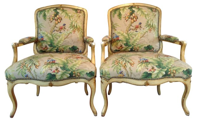 European Upholstered  Armchairs, Pair