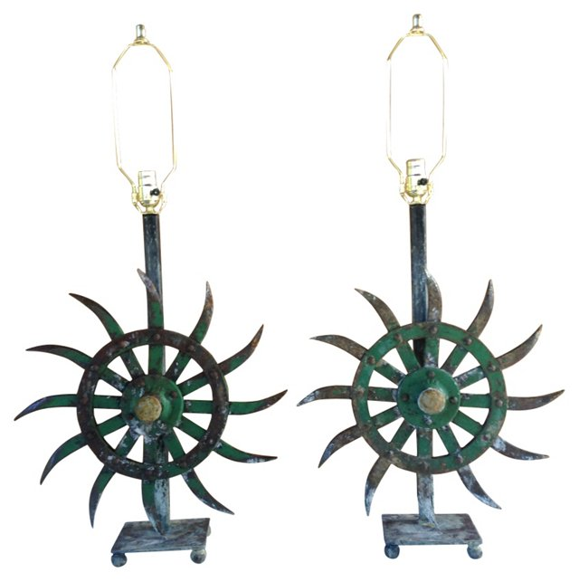 Industrial Iron Lamps, Pair