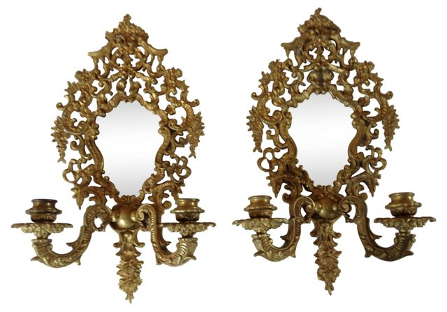 Gilt Bronze Mirrored Sconces, Pair