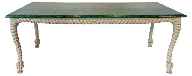 Rope-Motif Table w/ Faux-Malachite Top