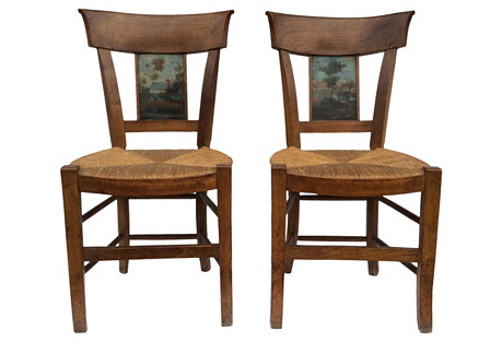 Antique Country French  Chairs, Pair