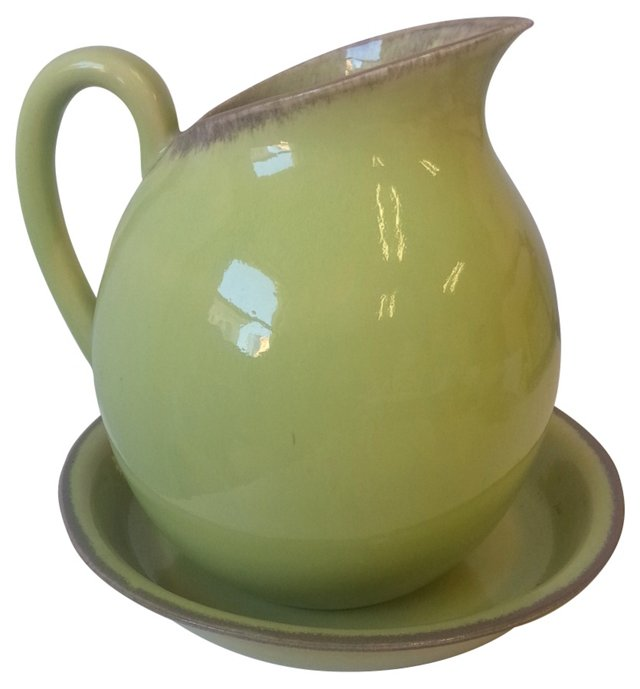 American Pottery Water Pitcher & Bowl