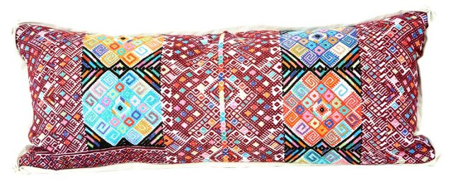 Dark Red Huipil Pillow