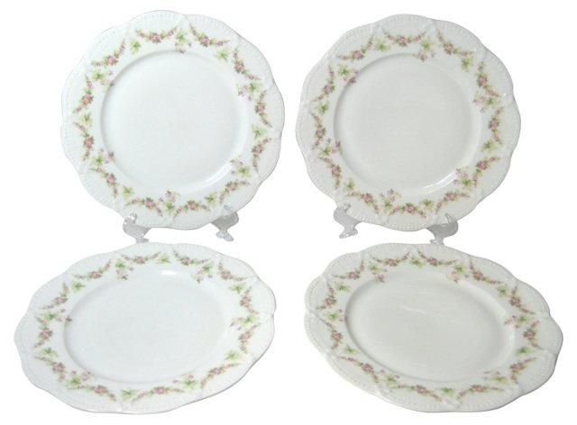 Limoges Plates w/ Floral Garlands, S/4