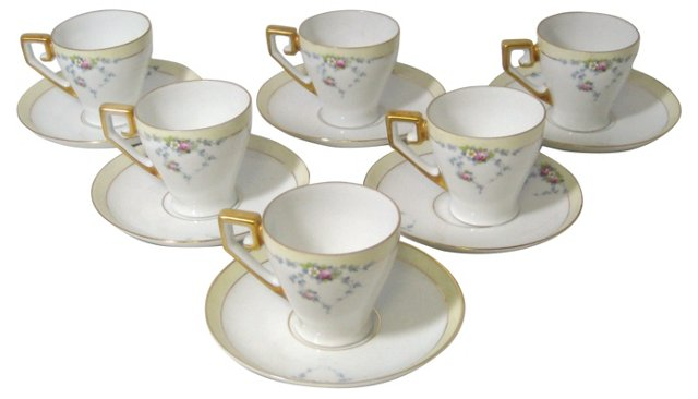 Bavarian Demitasse Cups & Saucers, S/6