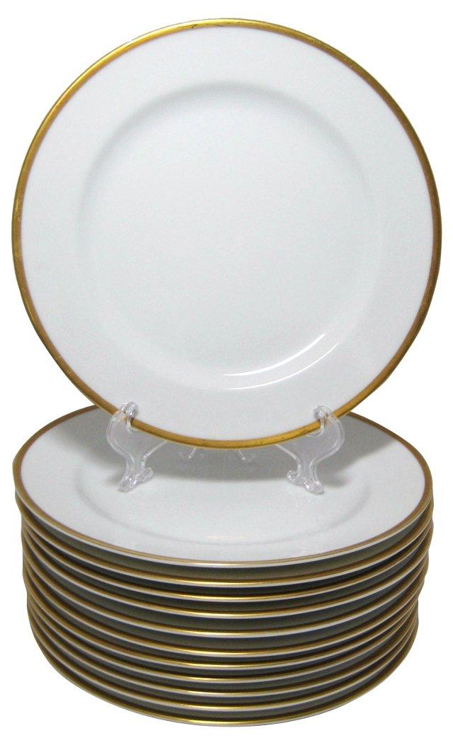 Gold Rim Luncheon Plates, S/12