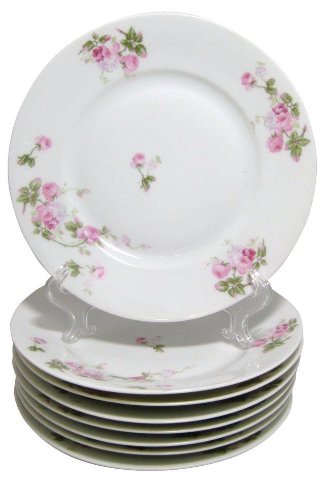 Saxony Rose Dinner Plates, S/8