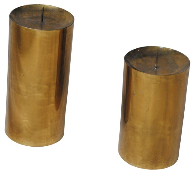 Brass Cylindrical Candleholders, Pair
