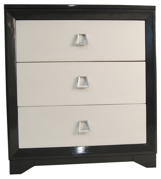 Gray & White Three-Drawer Chest