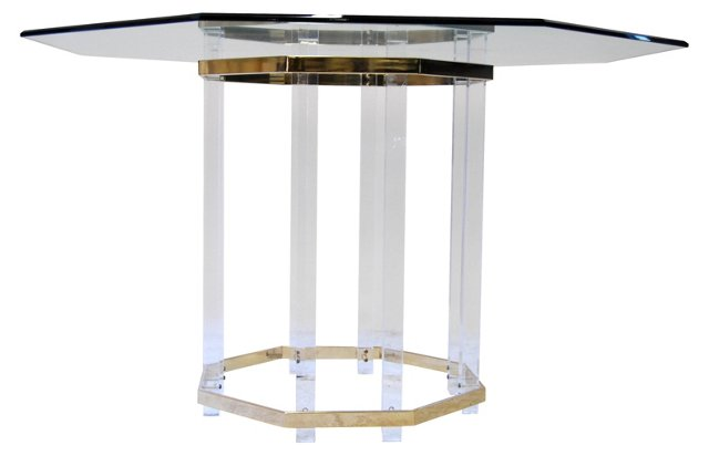 Lucite & Glass Octagonal Table